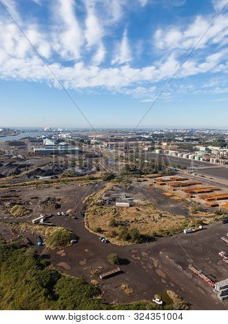 Aerial View Of An Industrial Area In Newcastle Nsw Australia Showing Steel Manufacturing. Newcastle