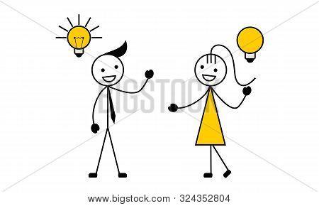 Stick Figure Having A Creative Idea With A Light Bulb. Vector Illustration