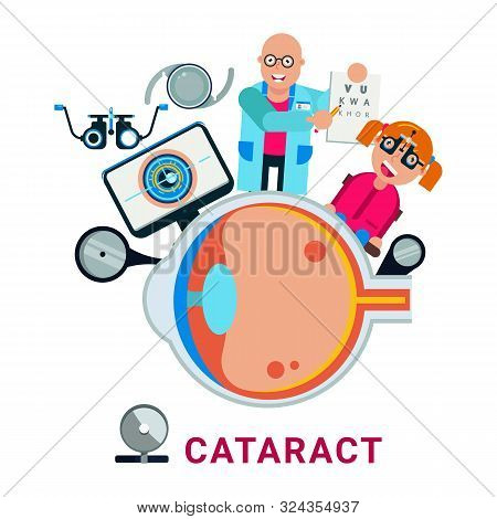 Medical Eye Test, Cataract, Glaucoma Vector Illustration.