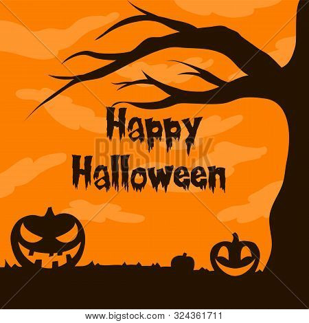 Jack O Lantern Above Of Tree Silhouette Vector Illustration With Moon Light For Halloween Banner Als