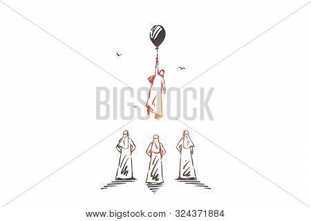 Leadership, Ambitions, Aspirations Concept Sketch. Business Success Achievement, Career, Personal Gr