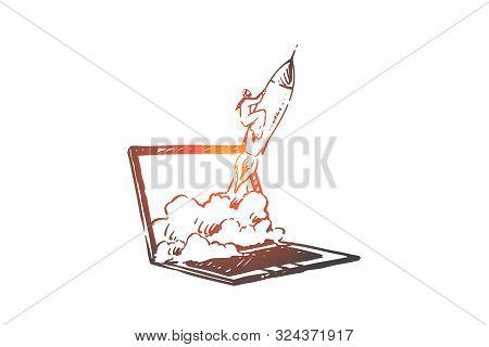Launching Startup Online Concept Sketch. Muslim Businessman Flying Or Rocket Metaphor, Arab Entrepre