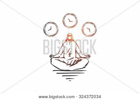 Meditation And Relaxation Concept Sketch. Muslim Man Sitting In Lotus Pose Enjoying Tranquility, Ara