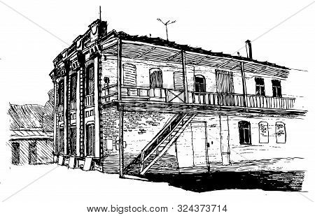 Two-story House Of The Late 19th Century In A European City, Courtyard Facade, Vector Illustration