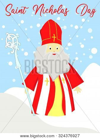 St. Nicolas Day. December 6 And December 19. Sinterklaas On A White Background..
