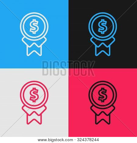 Color Line Reward For Good Work Icon Isolated On Color Background. Employee Of The Month, Talent Awa