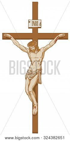 Vector Illustration Of The Religious Symbol Crucifixion. Jesus Christ, The Son Of God In A Crown Of