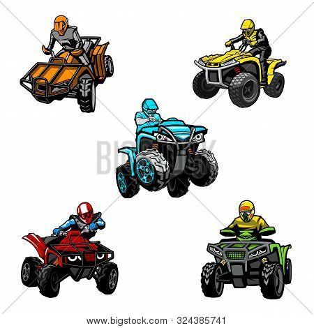Five Full-color Quad Bikes From Different Angles, Isolated Background