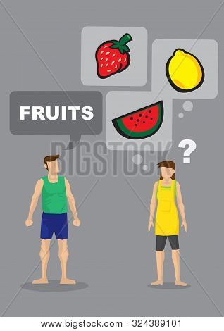 Cartoon Man Demand For Fruits And His Wife Is Unsure What He Is Asking For. Vector Illustration For