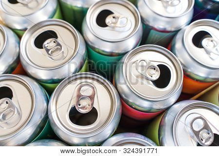 Empty Aluminium Soft Drink, Beer Can Closeup