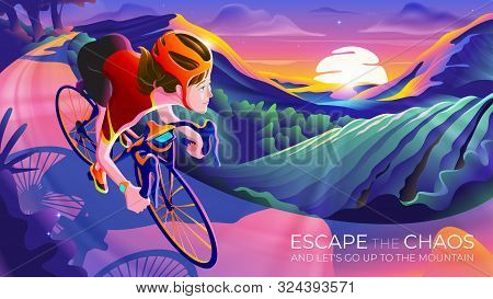 An Illustration Of A Woman Riding A Bicycle Up To The Mountain With The Sunrise At Horizon. Escape T