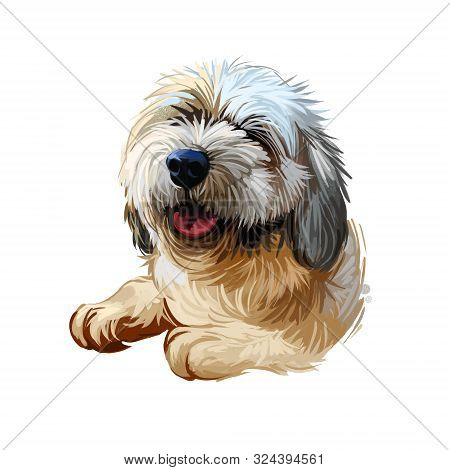 Lhasa Apso Puppy Tibetan Long-haired Purebred Digital Art. Poster With Text And Watercolor Portrait