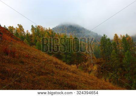 Beautiful Nature In Mountain Terrain By Autumn