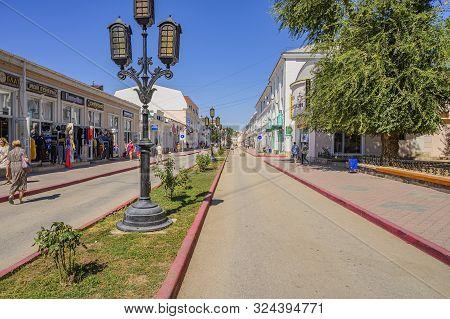 Feodosia, Crimea, Russia - September 11, 2019: People On The Pedestrian Zemskaya Street. Autumn Day