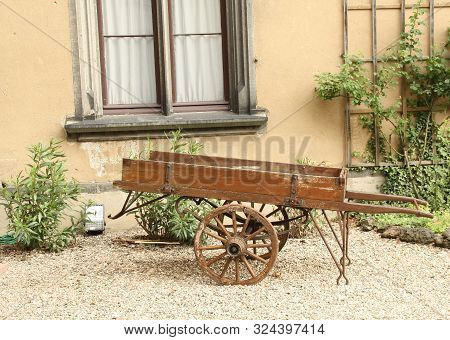 Bad Honingen.june-03-2019. Antique Pushcart At The Schloss Arenfels In Bad Honingen. Germany