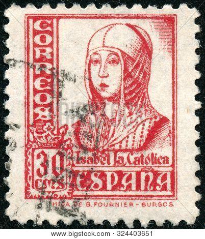Vintage Stamp Printed In Spain 1937 Shows Queen Isabella