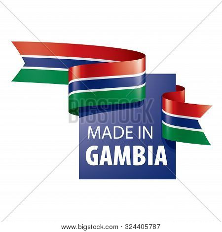 Gambia flag, vector illustration on a white background poster