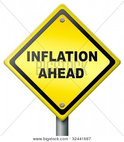 inflation ahead crash in financial banking and stock market bank crash value devaluation risk in business road sign diamond shape in yellow with text