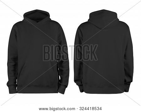 Men Black Blank Hoodie Template,from Two Sides, Natural Shape On Invisible Mannequin, For Your Desig