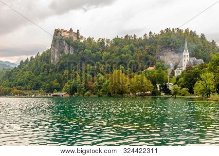 Bled,slovenia - September 2,2019 - View At The Castle Of Bled And Church Of Saint Martin Near Lake O