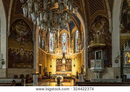 Bled,slovenia - September 2,2019 - View At The Interior Of Saint Martin Church In Bled. Bled Is A To