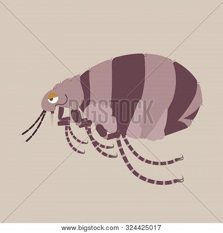 Flea Dog And Cat, Germ, Pet Pest Control Concept, Flat Character Design Clip Art Vector Illustration