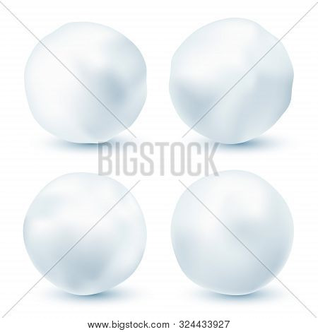 Snowball Isolated On White Background. Snowballs Collection. Frozen Ice Ball. Winter Decoration For