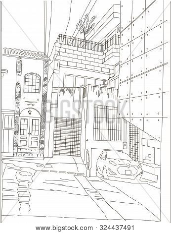 Tokyo Courtyard, Color Vector Illustration, Car In Old Yard Japan Manga Style Background Line Drawin