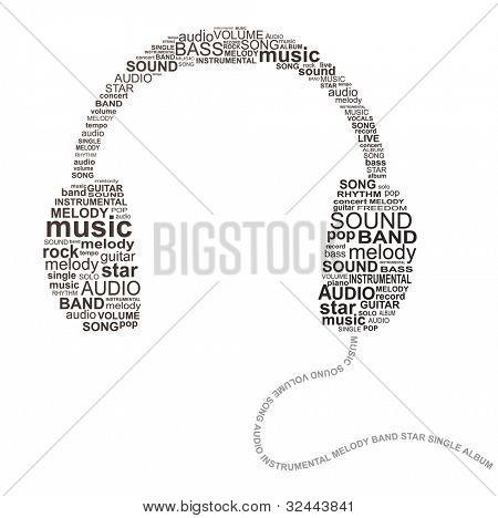 Typography headphones - music concept image