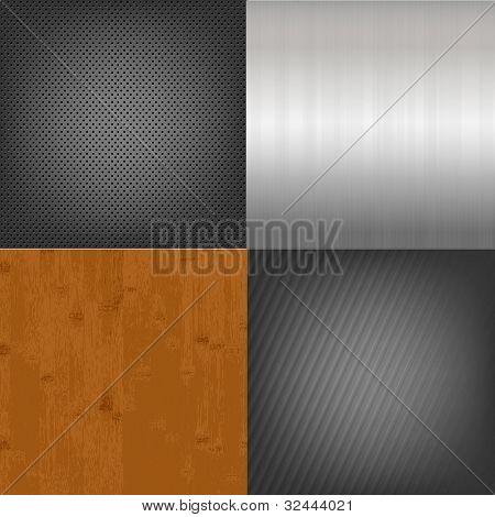 Satz von Metall und Holz Texture Background, Vector illustration