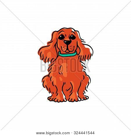 Obedient Cute Dog Waiting For Command Cartoon Vector Illustration Isolated.
