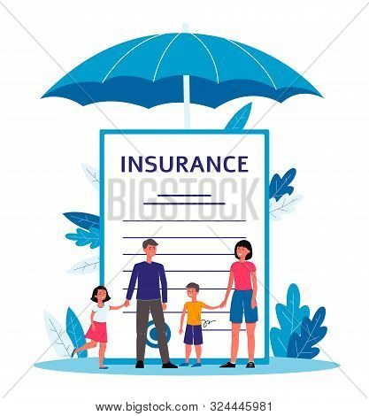 Family Insurance - Cartoon People Standing Near Giant Contract Document