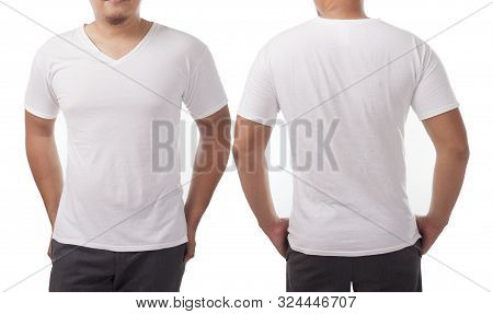 White V-neck T-shirt Mock Up, Front And Back View, Isolated. Male Model Wear Plain White Shirt Mocku