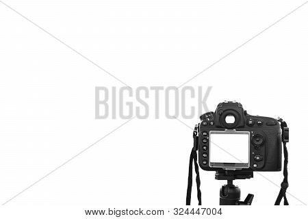 A Photo Camera Taking Picture. Digital Camera Isolated On A White With Isolated White Screen. Dslr C
