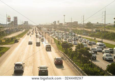 Bangkok Thailand - October 28 : Cars Stands In Traffic Jam At Evening At Rama Ii Road On October 28,