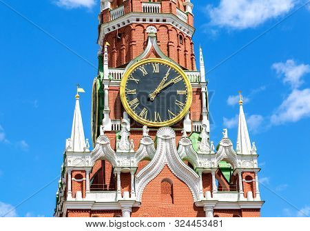 Chimes clock on Spasskaya tower of the Moscow Kremlin, Russia poster