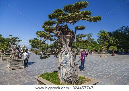 Da Nang, Vietnam - June 27, 2019: Territory Of The Monastery With The Lady Buddha Statue The Bodhisa