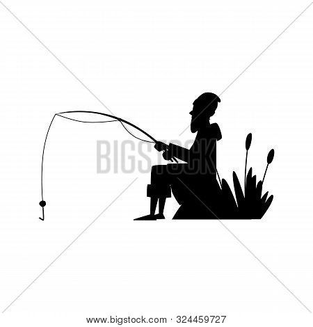Fisherman Black Silhouete Cartoon Character Vector Illustration Isolated On White.