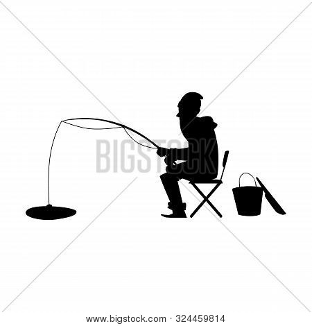 Black Silhouette Of A Man On Winter Fishing Sitting On Ice Vector Illustration.