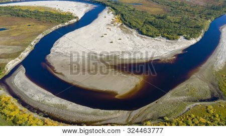 Landscape Of The Forest-tundra And The Sandy River Bank, Bird's Eye View.arctic Circle, Tunda