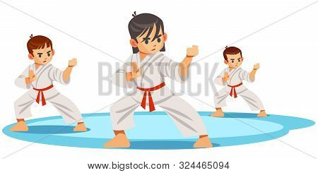 Cute Vector Character Child . Illustration For Martial Art Poster. Kid Wearing Kimono And Karate Tra