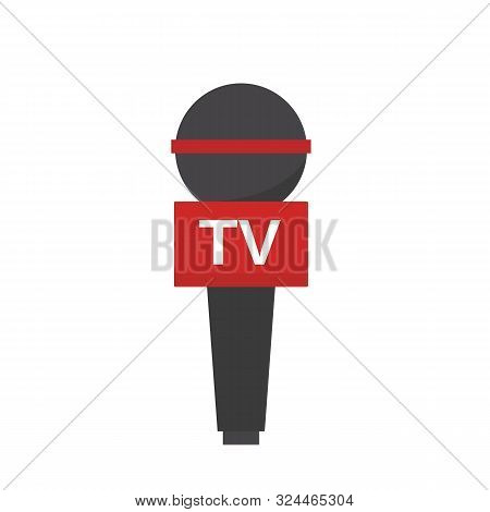 Mic News Icon Isolated On White Background. Microphone Television In Flat Style. News Interview Pres