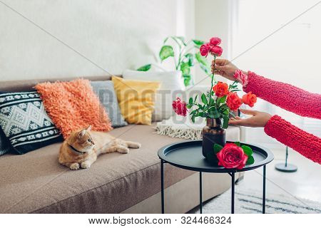 Woman Puts Flowers Roses In Vase On Table. Housewife Taking Care Of Coziness In Apartment. Interior