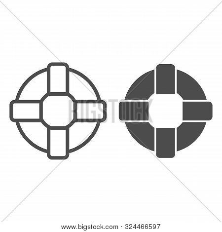 Lifebuoy Line And Glyph Icon. Lifesaver Vector Illustration Isolated On White. Life Ring Outline Sty