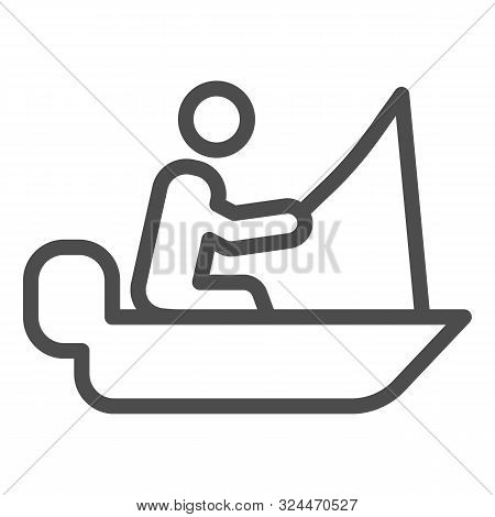 Man Cath Fish On Fishing Rod Line Icon. Boat With Fisherman Vector Illustration Isolated On White. F