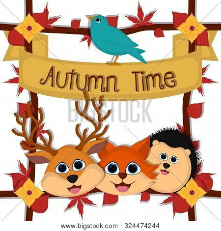 Autumn Time Card With A Cute Fox, Porcupine And Deer - Vector