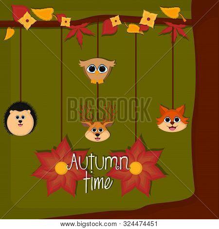 Autumn Time Card With A Cute Porcupine, Fox, Deer And Owl - Vector