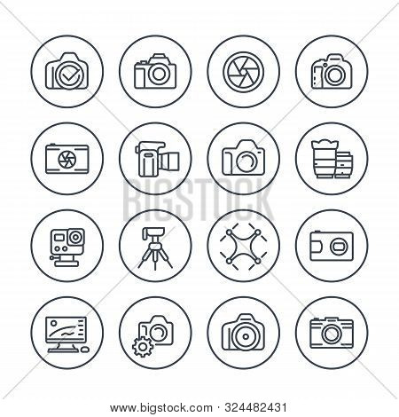 Photography Line Icons Set On White, Mirrorless, Action Camera, Lenses, Drone Photo, Dslr, Aperture,