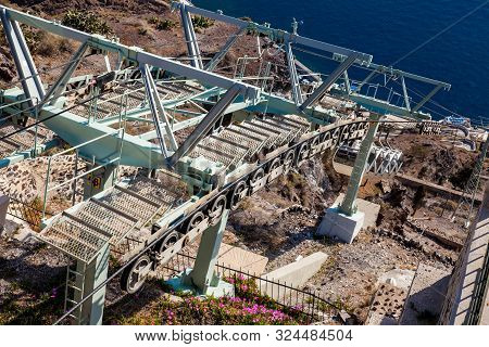 Santorini, Greece - April, 2018: Santorini Cable Car Which Connects The Port With The Town Of Thera