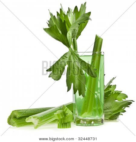 fresh celery juiceisolated on white background